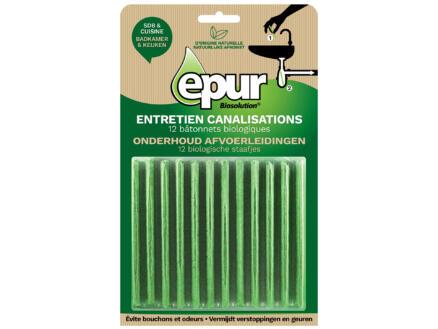 Epur Produit d'entretien canalisations bâtonnets biologiques 12x2g
