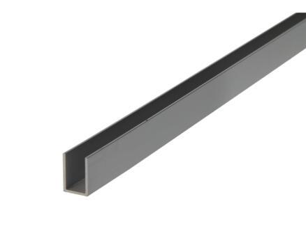 Arcansas Profil en U 2m 10x15 mm aluminium mat anodisé