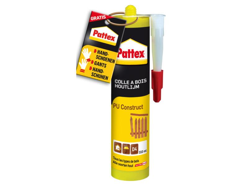 Pattex Pu Construct houtlijm 310ml bruin + gratis handschoenen