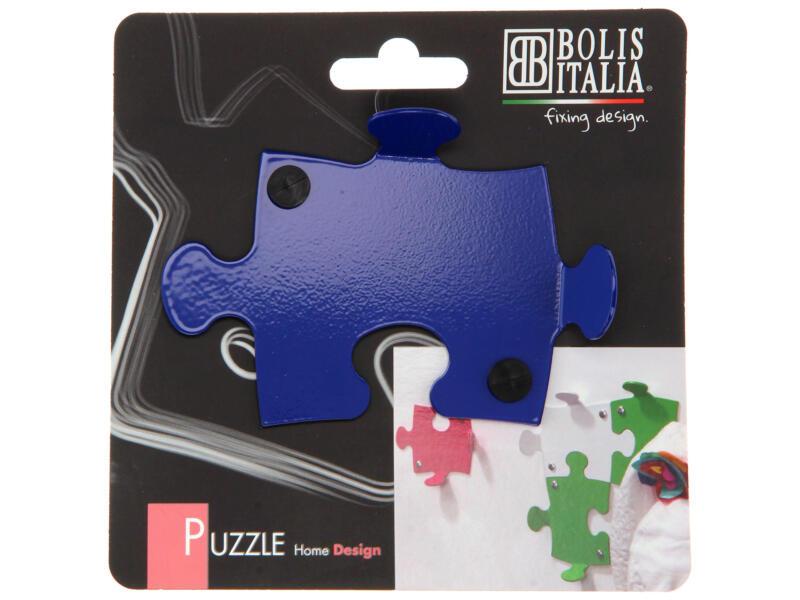 Puzzle crochet portemanteau 2 crochets bleu