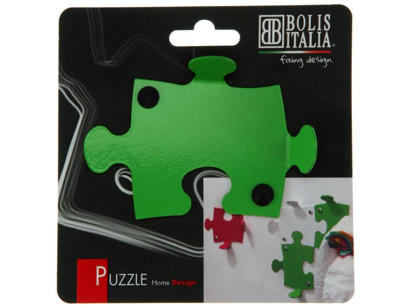 Puzzle crochet portemanteau 2 crochets vert