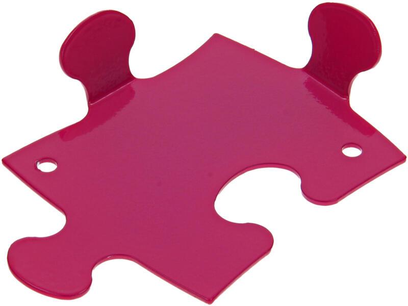 Puzzle kledinghaak 2 haken roze