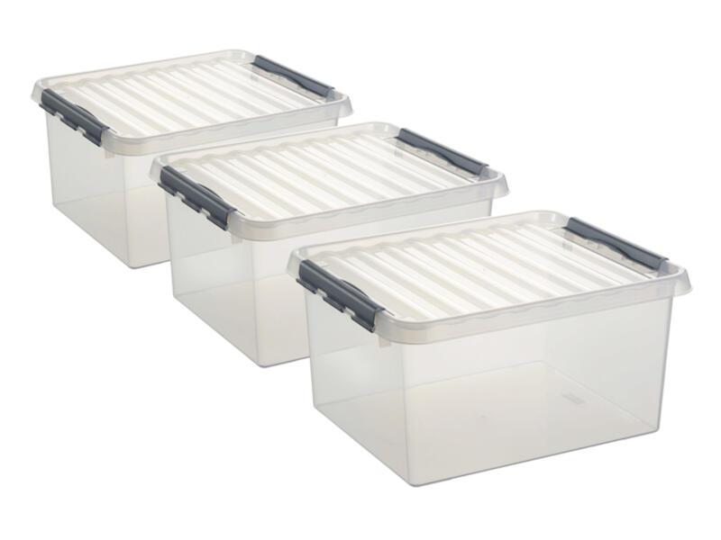 Sunware Q-Line boîte de rangement 36l transparent 3 pièces