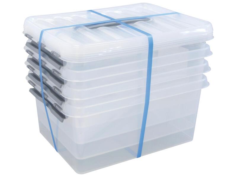 Sunware Q-Line opbergbox 15l transparant 4 stuks