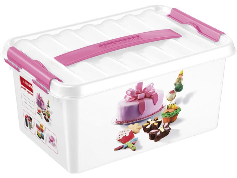 Sunware Q-line Fun Baking boîte de rangement 6l blanc/rose
