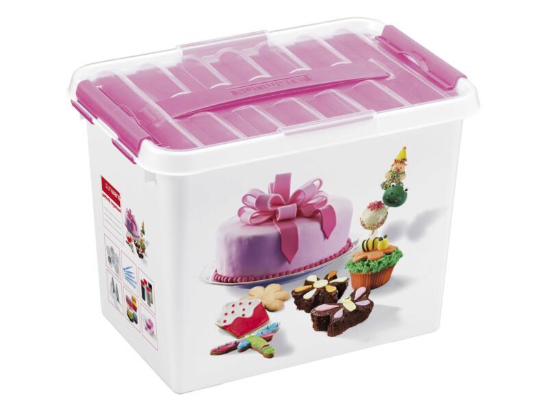 Sunware Q-line Fun Baking boîte de rangement 9l blanc/rose