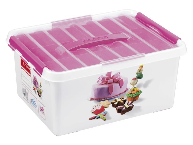 Sunware Q-line Fun Baking opbergbox 15l wit/roze