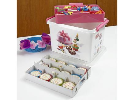 Sunware Q-line Fun Baking opbergbox 22l wit/roze + tray voor 24 cupcakes