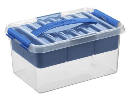Sunware Q-line Multibox opbergbox 6l + tray transparant/blauw