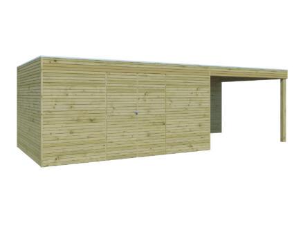 Gardenas QB III tuinhuis 420x300x216 cm met uitbreiding hout 300cm