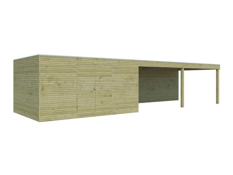 Gardenas QB III tuinhuis 420x300x216 cm met uitbreiding hout 600cm