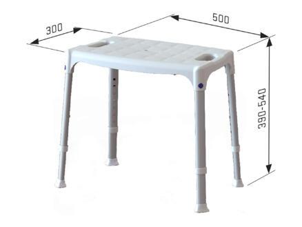Quattro tabouret de douche 50cm réglable en hauteur blanc
