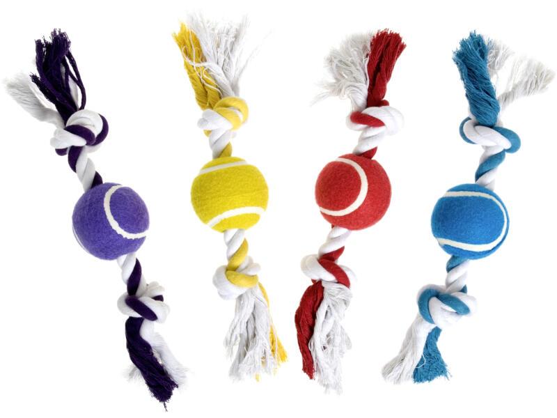 Flamingo Quinn knoopbeen met tennisbal 30cm katoen beschikbaar in 4 kleuren