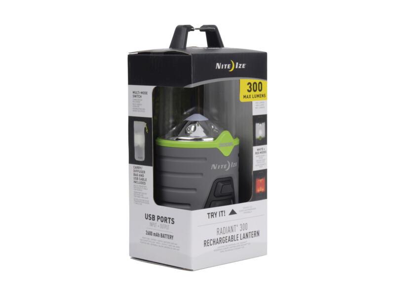 Nite Ize Radiant 300 LED lantaarn oplaadbaar + draagtas