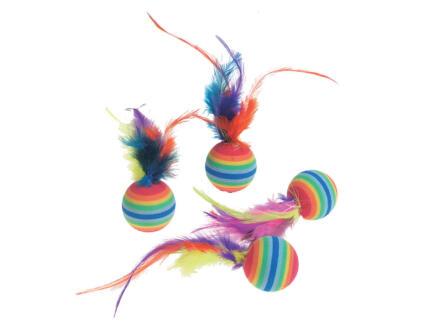 Flamingo Rainbowbal + veer 7cm 4 stuks