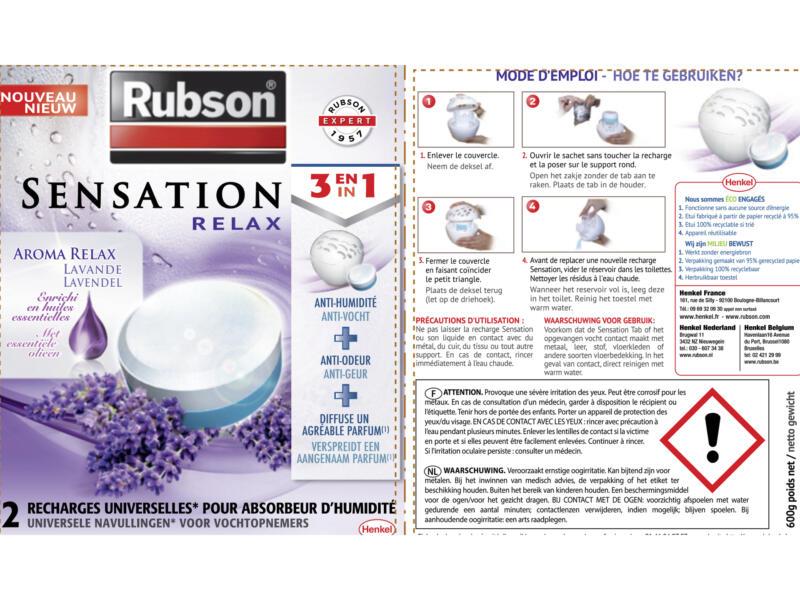 Rubson Recharge absorbeur d'humidité Sensation lavande 2x300g