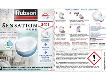 Rubson Recharge absorbeur d'humidité Sensation sans parfum 2x300g