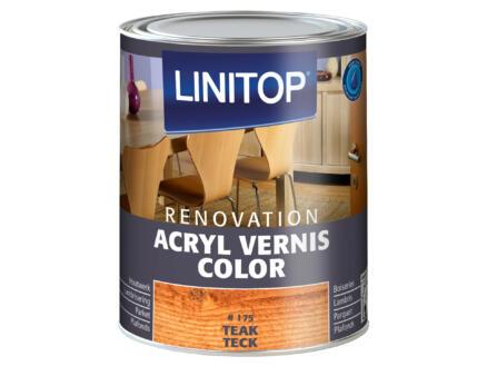 Linitop Renovation vernis acryl zijdeglans 0,75l teak #175