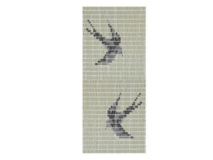 Sun-Arts Rideau de porte hirondelles 90x210 cm crème/noir/argent