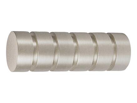 Rillcube eindstuk gordijnroede 20mm inox look 2 stuks