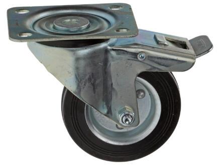 Tente Roulette à frein pivotante 100mm platine caoutchouc