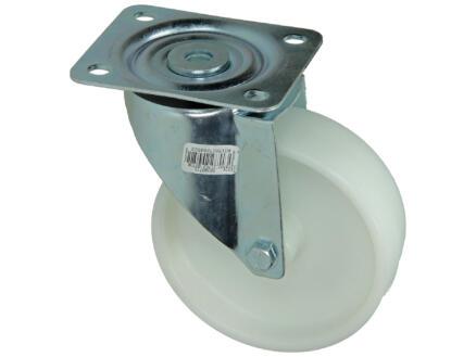 Tente Roulette pivotante 125mm platine et alésant lisse nylon