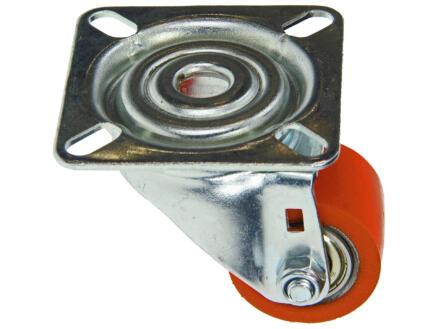 Roulette pivotante 35mm platine polyuréthane orange