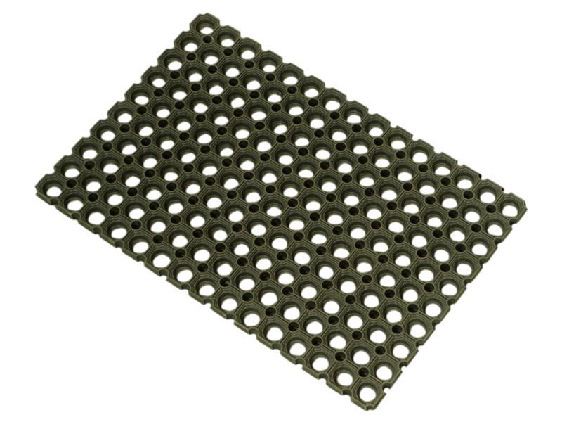 Rubbermat met ringen 100x150 cm zwart