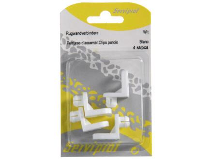 Rugwandverbinder clips wit 4 stuks