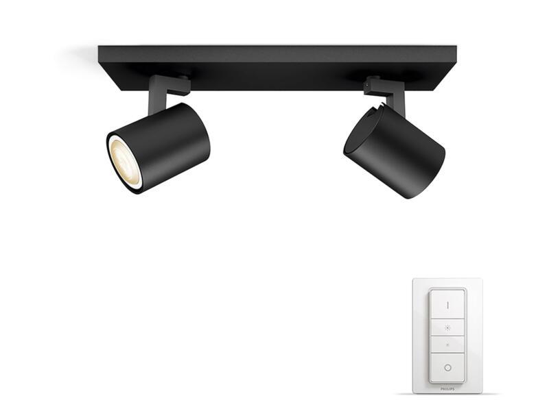 Philips Hue Runner LED balkspot GU10 2x5,5W zwart + dimmer