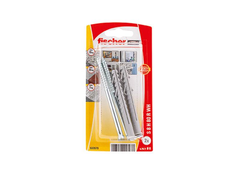 Fischer S chevilles 8x80 mm avec crochet 2 pièces