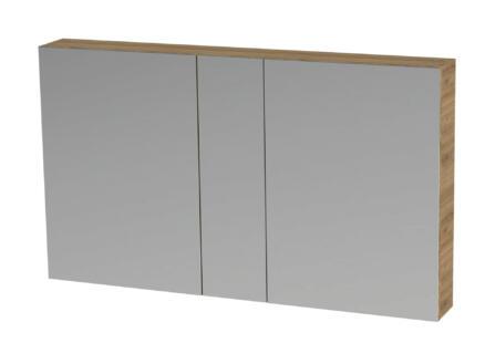 Tiger S-line armoire de toilette 120cm 2 portes miroir chêne chalet