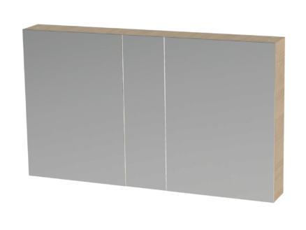 Tiger S-line armoire de toilette 120cm 2 portes miroir chêne naturel