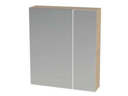 Tiger S-line armoire de toilette 60cm 2 portes miroir chêne naturel