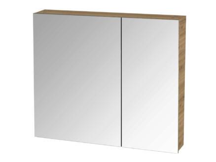 Tiger S-line armoire de toilette 80cm 2 portes miroir chêne chalet