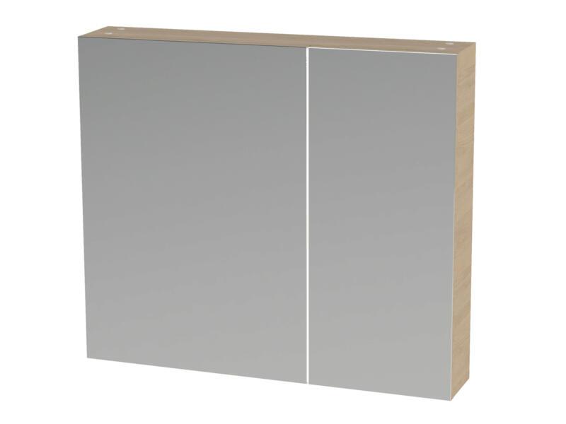 Tiger S-line armoire de toilette 80cm 2 portes miroir chêne naturel