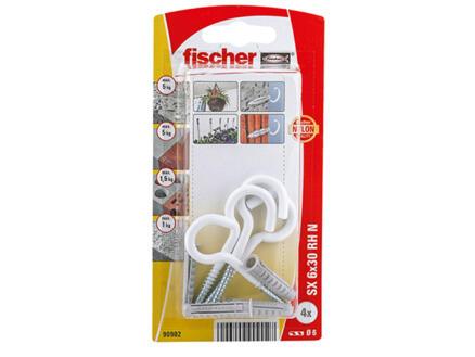 Fischer SX chevilles 6x30 mm avec crochet rond 4 pièces