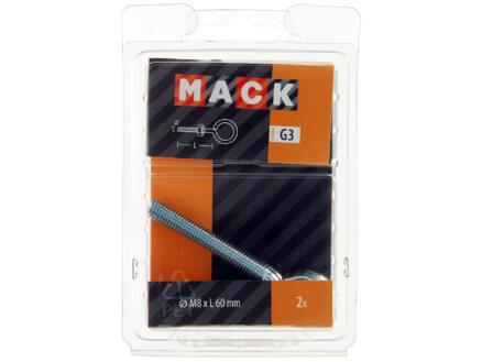 Mack Schroefogen met moer 60x8 mm verzinkt 2 stuks