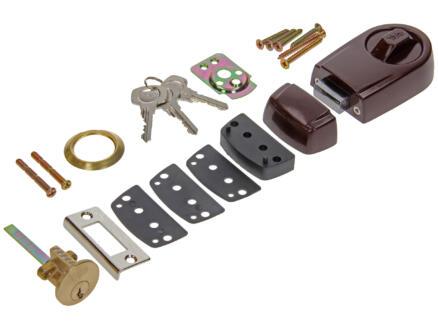 Yale Serrure à appliquer Rim Lock avec accessoires de fixation brun