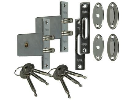 Yale Serrures à mortaiser avec la même clé en croix dormant double rond et avec accessoires de fixation (2)