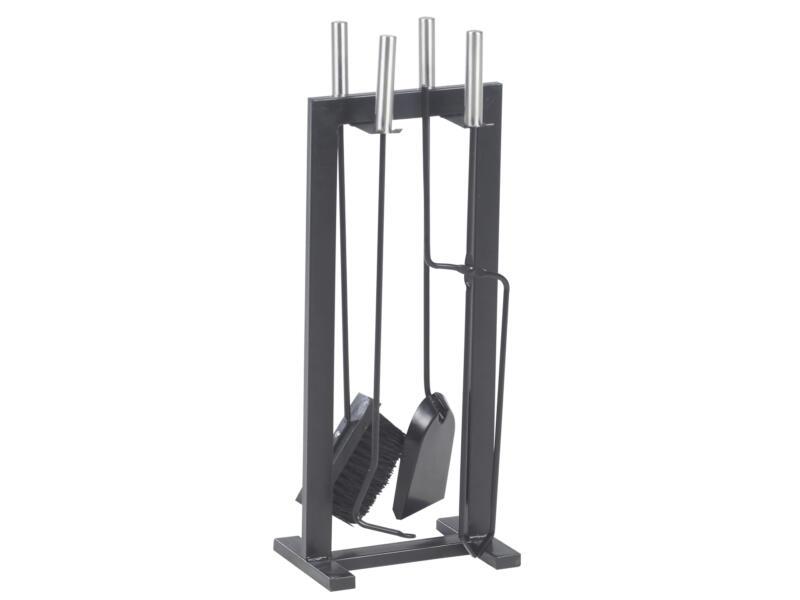Practo Home Serviteur de cheminée design 5 pièces hauteur 58,5cm noir-argent