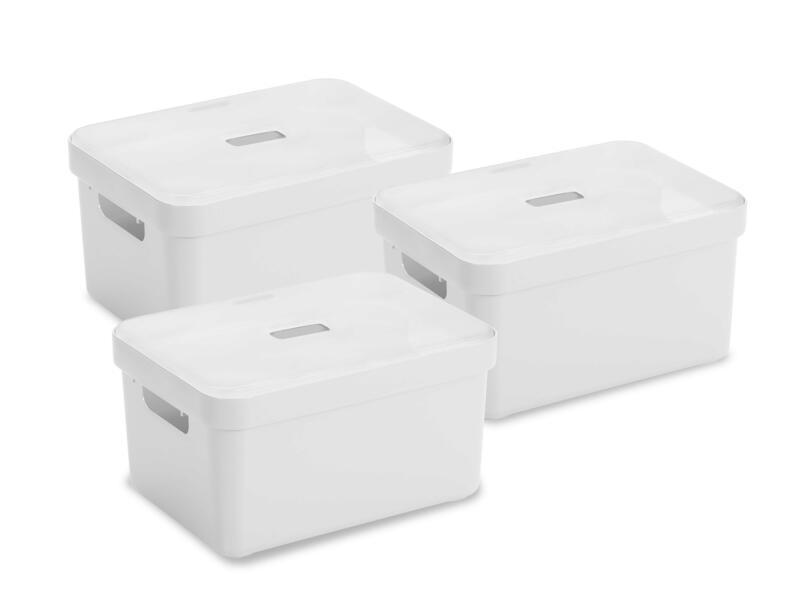 Sunware Sigma Home boîte de rangement 13l blanc 3 pièces + couvercle