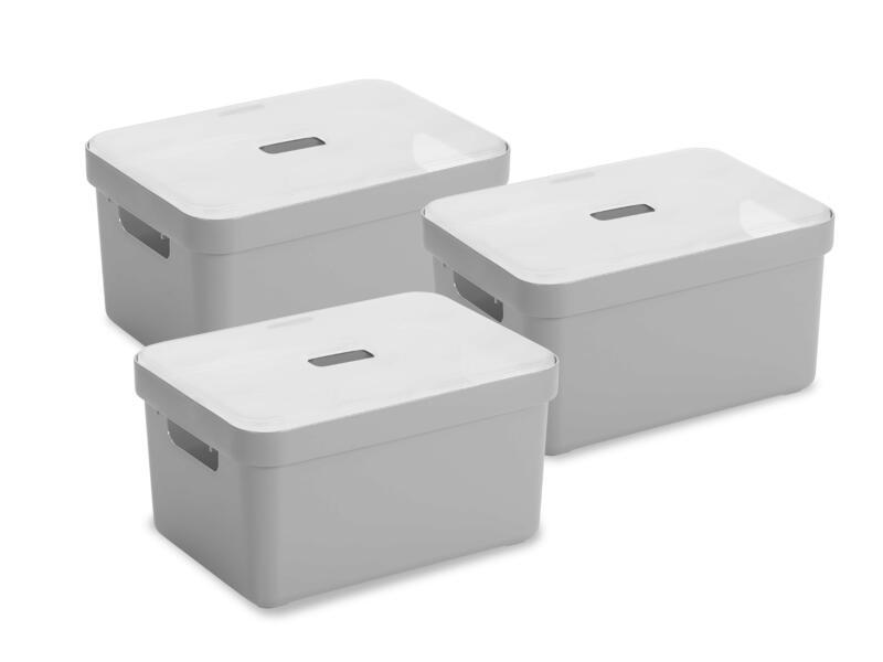 Sunware Sigma Home boîte de rangement 13l gris clair 3 pièces + couvercle