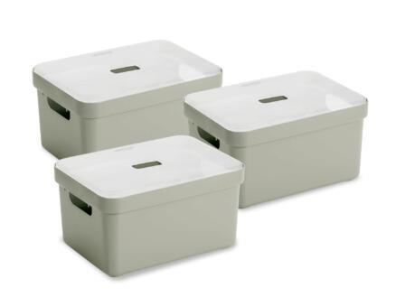 Sunware Sigma Home boîte de rangement 13l vert clair 3 pièces + couvercle
