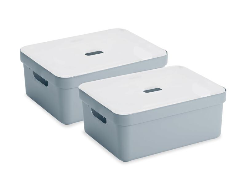 Sunware Sigma Home boîte de rangement 24l gris-bleu 2 pièces + couvercle