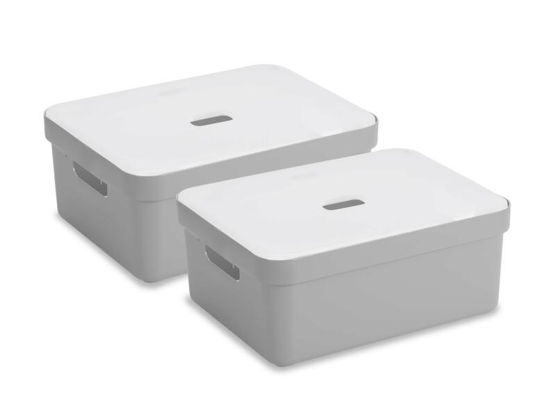 Sunware Sigma Home boîte de rangement 24l gris clair 2 pièces + couvercle
