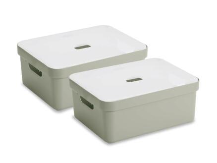 Sunware Sigma Home boîte de rangement 24l vert clair 2 pièces + couvercle