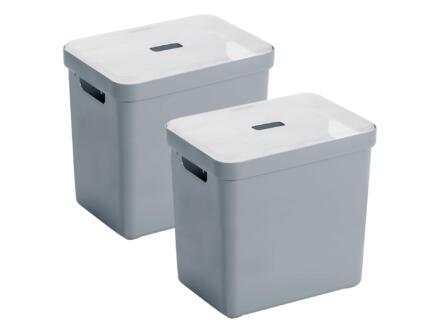 Sunware Sigma Home boîte de rangement 25l gris-bleu 2 pièces + couvercle