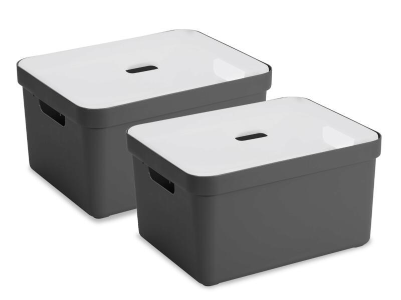 Sunware Sigma Home boîte de rangement 32l anthracite 2 pièces + couvercle