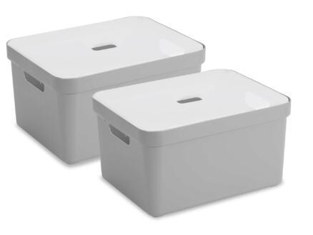 Sunware Sigma Home boîte de rangement 32l gris clair 2 pièces + couvercle